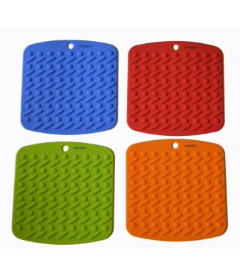 Bekith Silicone Pot Holder,trivet Mat,jar Opener,spoon Rest and Garlic Peeler (Set of 4) Non Slip,flexible,durable,dishwasher Safe,heat Resistant Hot