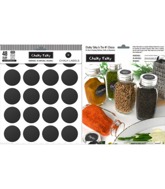 Chalky Talky 48 Reusable Chalkboard Spice Labels - Blank Fit To Customize Your Spice Containers Tops and Sides