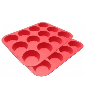 Ozera Silicone Muffin Pan / Cupcake Pan Cupcake Mold 12 Cup, Set of 2, Red