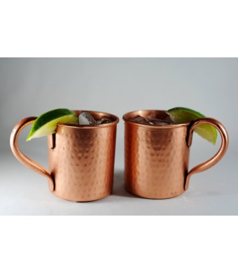 Set of 2 hammered Copper Mugs for Moscow Mules - 14 oz size