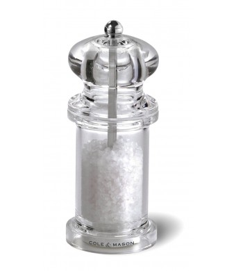 Cole and Mason 505 Precision Salt Grinder, Clear Acrylic, Sea Salt Included