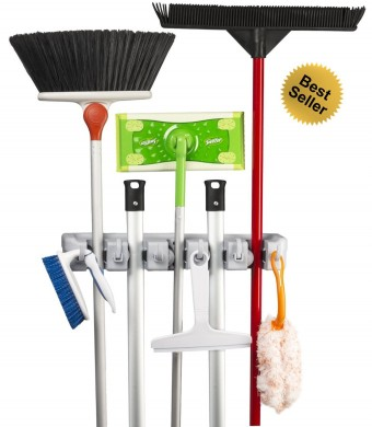 ?Best Seller? Best Broom Holder? - Efficient Mop and Broom Hanger - Extra Strong, Easy, Neat and Nifty Wall-Mounted Storage and Organizer - Elegant S