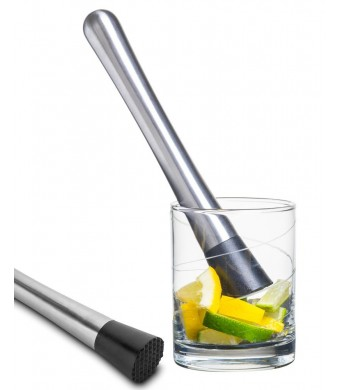 Cocktail Muddler - Stainless Steel - Grooved Nylon Head - Lifetime Guarantee - Create Delicious Refreshing Cocktails by Decodyne