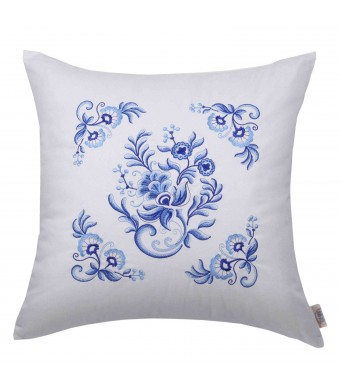 "Embroidery Decorative Throw Pillow Cushion Cover Sham Case 18""  (1 Side, Royal Delft Blue, #2)"