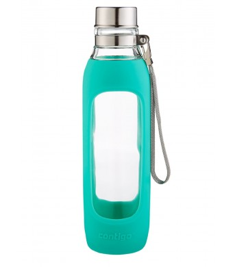 Contigo Purity Glass Water Bottle, 20-Ounce, Greyed Jade