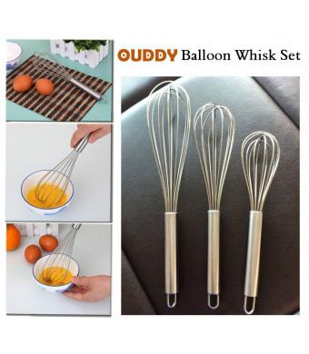 Ouddy Stainless Steel Whisk, Egg Frother, Milk and Egg Beater Blender, Set of 3