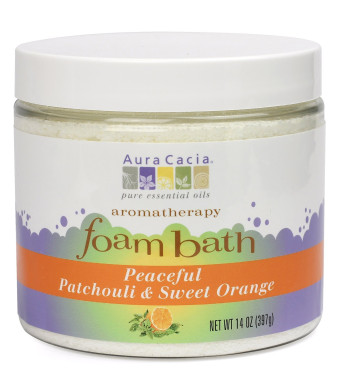 Aura Cacia Aromatherapy Foam Bath, Peaceful Patchouli and Sweet Orange, 14 ounce jar