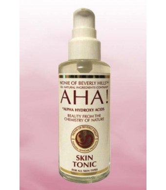 Nonie of Beverly Hills Aha! Skin Tonic 100% Natural, Contains Alpha Hydroxy Acids Naturally Forming From Fruits. 7.0 OZ glass bottle.