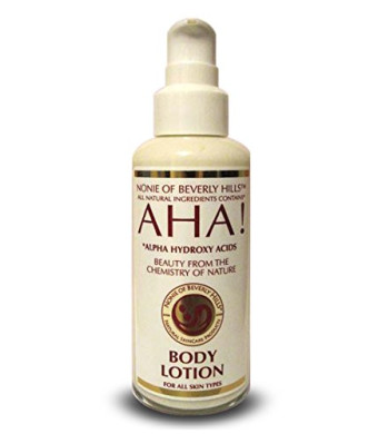 Nonie of Beverly Hills AHA! Body Lotion 100% Natural. 7.0 oz Glass Bottle