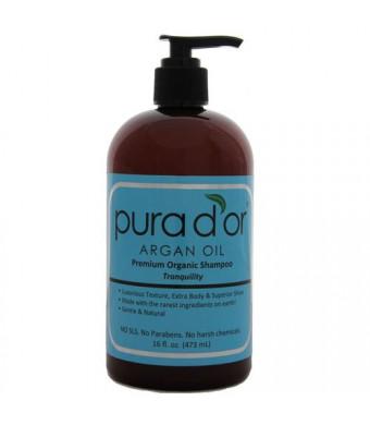 pura d'or Argan Oil Premium Organic Tranquility Shampoo, 16 Ounce
