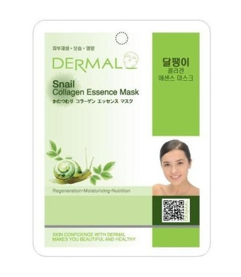 Dermal Korea Collagen Essence Full Face Facial Mask Sheet - Snail (10 Pack)