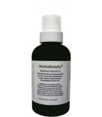 Watts Beauty 2% Retinol Serum - Hyaluronic Acid Gel Blend - No Parabens - Made in the USA - Perfect for Dull Skin, Aging Skin, Wrinkles, Large Pores,