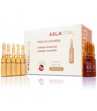 ASLAVITAL MINERALACTIV, Collagen Ampoules (Organic Goji Berry Extract/ 100% Natural Clay) (FOR EXTERNAL USE ONLY!)