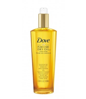 Dove Dry Oil, Pure Care Nourishing Hair Treatment with African Macadamia Oil, 3.38 Ounce