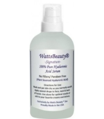 Watts Beauty Signature 100% Pure Hyaluronic Acid Wrinkle Serum - Best Hyaluronic Acid Serum for Face - No Fillers - Made in the USA