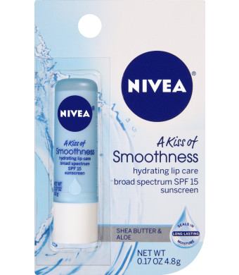NIVEA Kiss of Smoothness Hydrating Lip Care, SPF 15, 0.17 Ounce (Pack of 6)