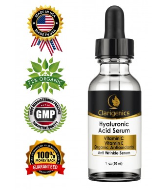 BEST Hyaluronic Acid and Vitamin C Anti Wrinkle Serum for Face - Repairs Deep Wrinkles Faster Than Wrinkle Cream By Locking in Moisture for Lasting Youth - With Aloe, Green Tea, Organic Antioxidants