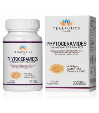 Teraputics Phytoceramides Ceramide-PCD  Made From Rice - 100% Gluten Free All Natural Plant Derived Vitamin Extract, Skin Restoring Skincare Oral Sup