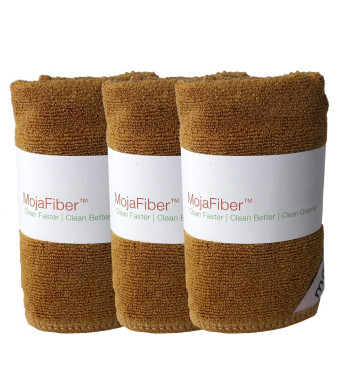 """Plush MojaFiber Microfiber Face Cloth: Ultra Dense 3 Pk - 12"""" x12"""" - Exfoliate, Wash and Cleanse Pores - Easily Remove Makeup, Oil and Dead Skin Cell"""