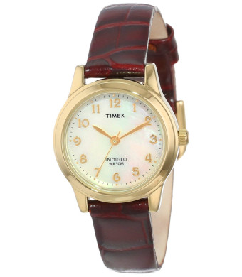 Timex Women's T21693 Elevated Classics Dress Burgundy Leather Strap Watch