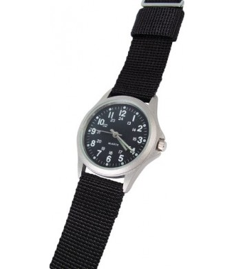RAM Instrument Illuminated Hands Field Watch, Black Nylon Strap, Black Face W1002