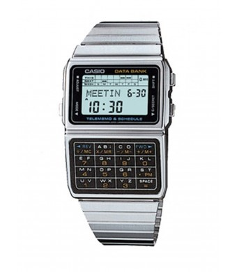 Casio #DBC610A-1A Men's Vintage Stainless Steel Band 50 Telememo Calculator Watch