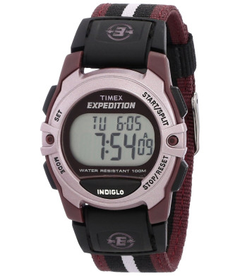 Timex Unisex T49659 Expedition Classic Digital Chrono Alarm Timer Plum Fast Wrap Buckle Strap Watch