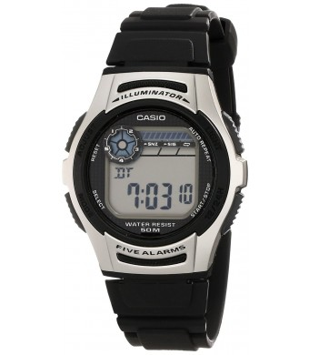 Casio Men's W213-1AVCF Basic Black and Silver Digital Watch