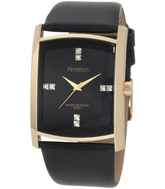 Armitron Men's 204604BKGPBK Swarovski Crystal Accented Gold-Tone Black Leather Strap Watch