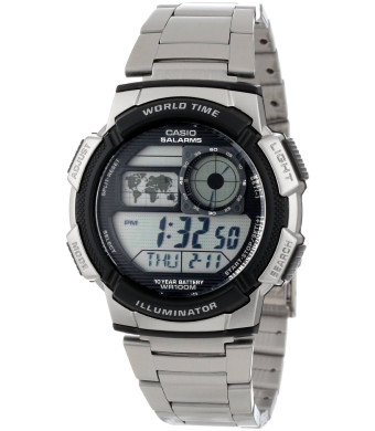 Casio Men's AE1000WD-1AVCF World Time Silver-Tone Bracelet and Digital Sport Watch