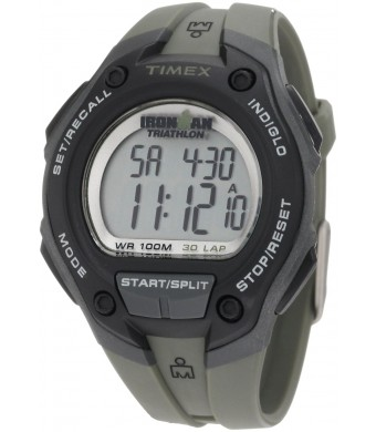 Timex Men's T5K418 Ironman Traditional Digital Black Resin Watch with Green Resin Stripe