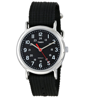 "Timex Unisex T2N647 ""Weekender""  Watch with Black Nylon Band"