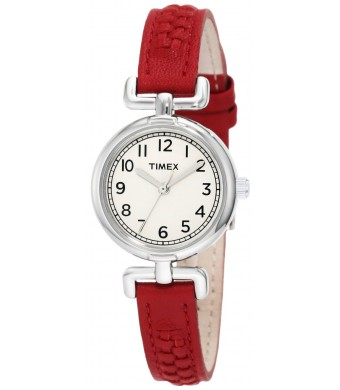 Timex Women's T2N661 Weekender Petite Red Woven Leather Strap Watch