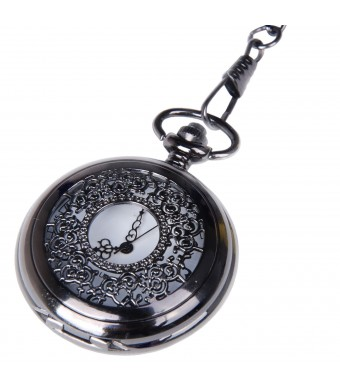 Pocket Watch Black Case White Dial with Chain Half Hunter Neo Vintage Steampunk Design Cosplay PW-22