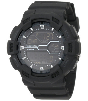 Armitron Sport Men's 40/8246MBLK Black Resin Digital World Time Chronograph Watch