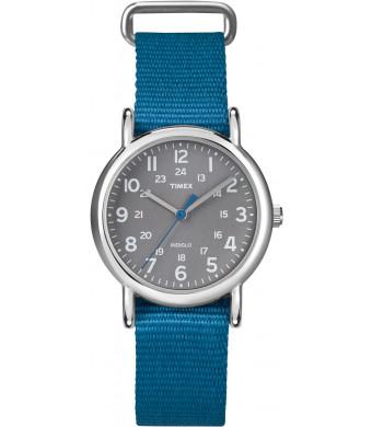 Timex Women's T2N913 Weekender Mid-Size Slip-Thru Blue Nylon Strap Watch