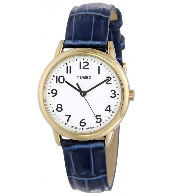 Timex Women's T2N954 Elevated Classics Gold-Tone Watch with Blue Leather Strap