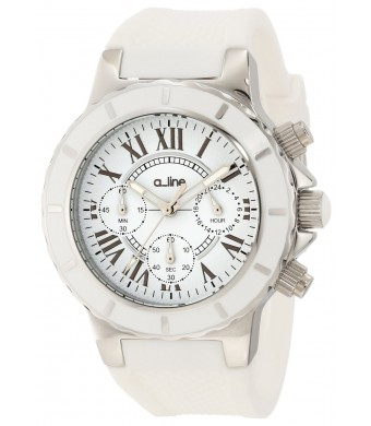 a_line Women's 20101DV Marina Chronograph White Textured Dial White Silicone Watch