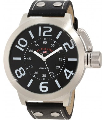 U.S. Polo Assn. Classic Men's US5207 Silver-Tone Watch with Black Faux Leather Band