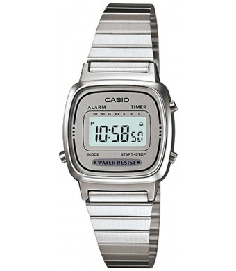 Casio #LA670WA-7 Women's Metal Band Countdown Timer Alarm LCD Digital Watch (Grey)