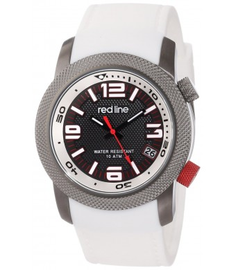 "red line Men's RL-50043-GY-01-WH ""Octane""  Gunmetal Ion-Plated Stainless Steel and White Silicone Watch"