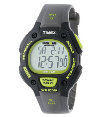 "Timex Men's T5K6929J ""Ironman Traditional""  30-Lap Black and Green Resin Strap Watch"