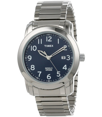 Timex Men's T2P1329J Elevated Classics Blue Dial, Silver-Tone Expansion Band Watch