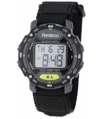 Armitron Sport Unisex 40/8291BLK Black Velcro Strap Grey Round Digital Chronograph Watch