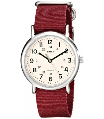 Timex Unisex T2P2359J Weekender Silver-Tone Watch with Maroon Nylon Band
