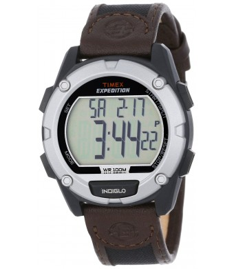 """Timex Men's T499489J """"Expedition""""  Resin Band with Brown Leather Band"""