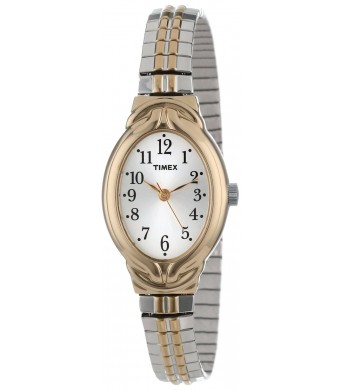 "Timex Women's T2N9809J ""Elevated Classics""  Oval Two-Tone Expansion Band Watch"