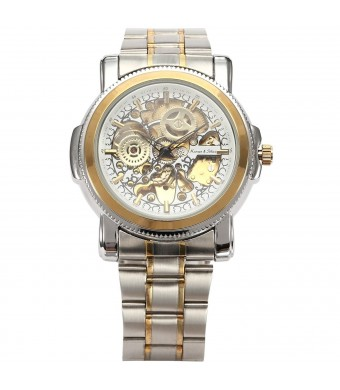 KS Royal Carving White Skeleton Mens Steampunk Automatic Mechanical Dress Watch KS137