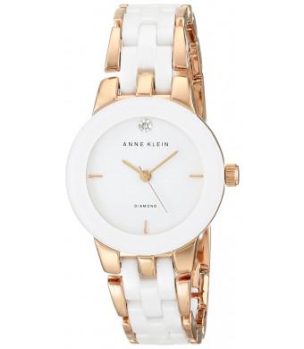 Anne Klein Women's AK/1610WTRG Diamond Dial Rose Gold-Tone and White Ceramic Bracelet Watch