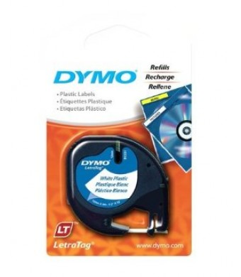 "DYMO Labeling Tape, LetraTag Labelers, Plastic, 1/2"" x13', Black on White"